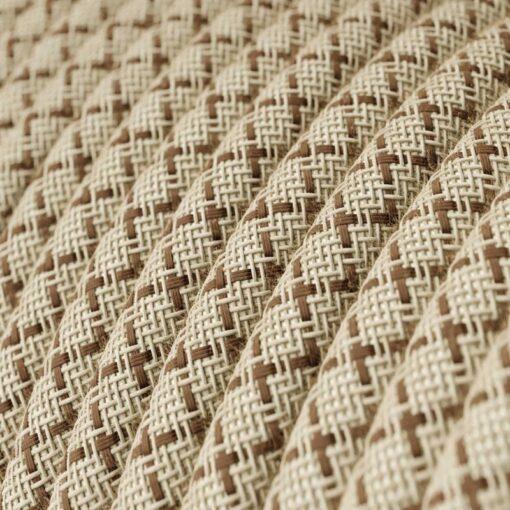 Textilkabel i linne och bomull - RD63 Brun Kryssmönstrad