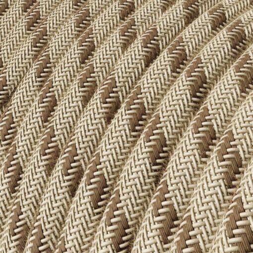 Textilkabel i linne och bomull - RD53 Brun Randig