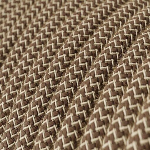 Textilkabel i linne och bomull - RD73 Brun Zig Zag
