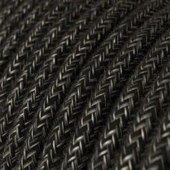 Textilkabel i linne - RN03 Mörkgrå