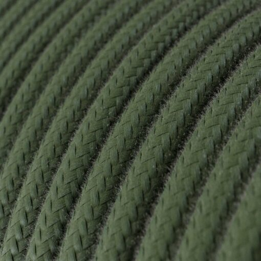 Textilkabel i bomull - RC63 Grön/Grå