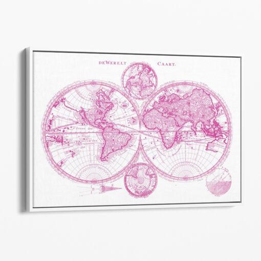 tavla världskarta i rosa