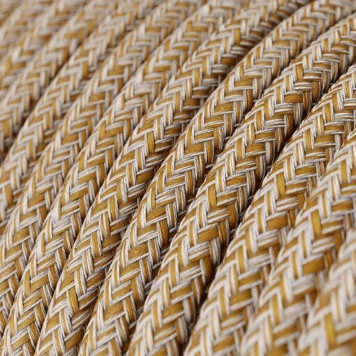 Textilkabel - Tweed RS82 rödbrun rustikt linne, och glittrig brun bomull