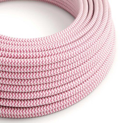 Textilkabel rosa zig zag