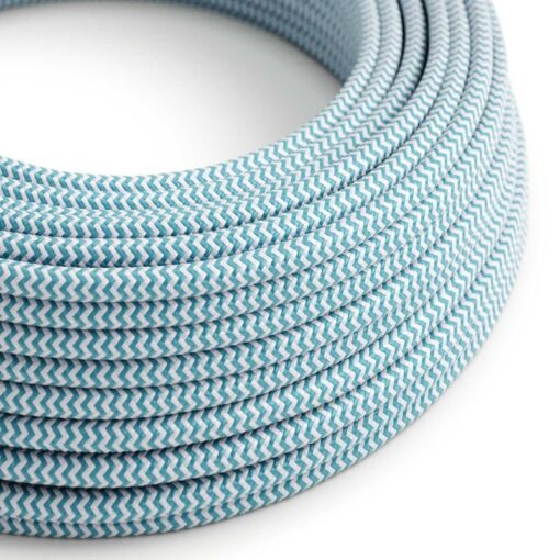 Textilkabel - RZ11 Azurblå Zig Zag