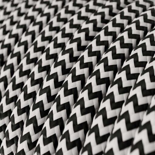 Textilkabel - RZ04 Svart/Vit Zig Zag