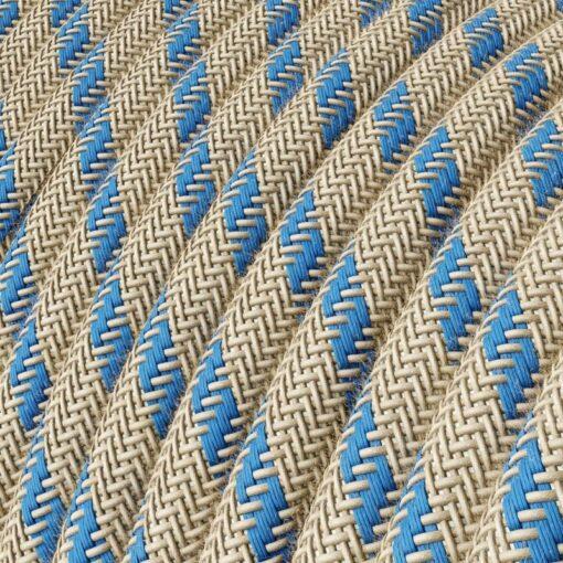 Textilkabel - RD55 linne och havsblå bomull
