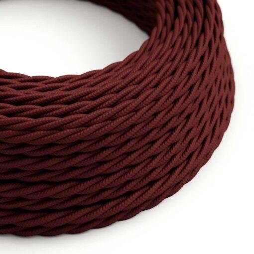 Tvinnad textilkabel TM19 - Vinröd