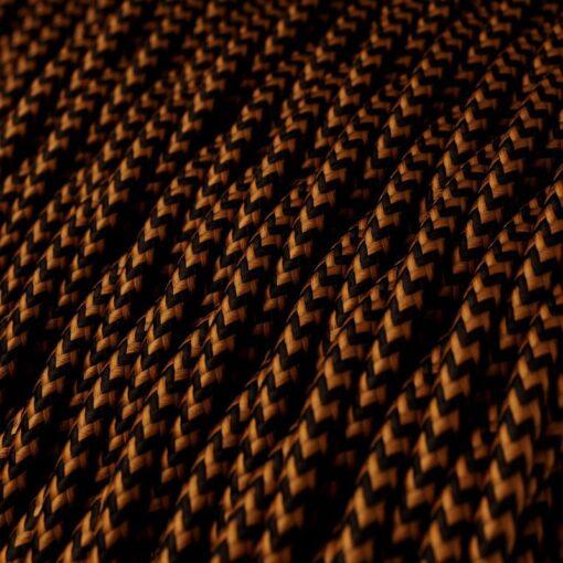 Tvinnad textilkabel TZ22 - Svart/Whiskey