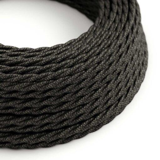 Tvinnad textilkabel TN03 - Linne Antracit
